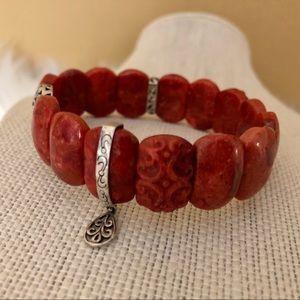 Silpada Jewelry - B2259 Silpada Carved Coral Stretch Bracelet